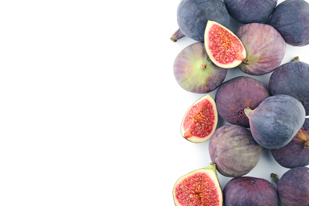 Ripe and sweet figs on white background Stock Photo