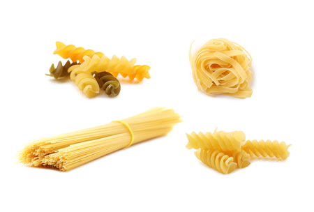 Collage of different dry pasta on white background 스톡 콘텐츠