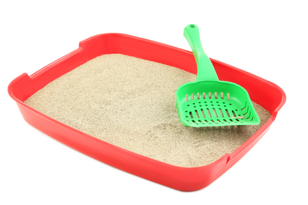 Red toilet tray with sand and scoop isolated on white Reklamní fotografie