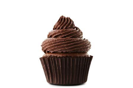 Chocolate cupcake isolated on white background Stockfoto
