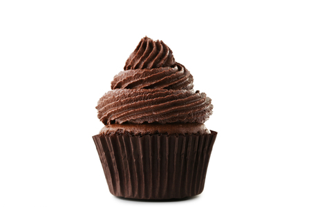 Chocolate cupcake isolated on white background Foto de archivo