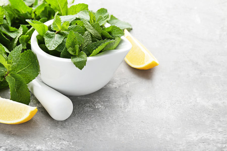 Fresh mint leafs in mortar with lemon on grey wooden table Stock Photo
