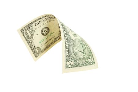 One dollar bill falling on white background Stock Photo