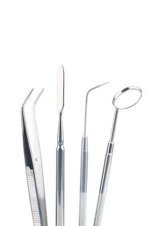 Dental equipment on white background
