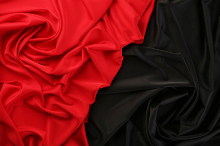 Background of red and black satin fabric