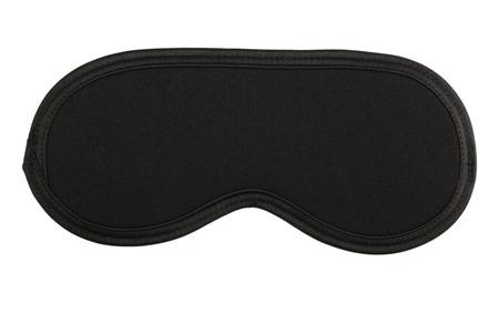 Black sleeping mask isolated on white Foto de archivo