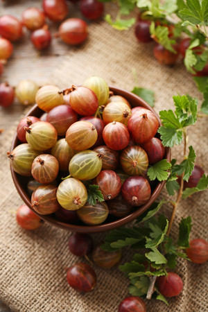 Ripe gooseberries fruit in bowl on sackcloth