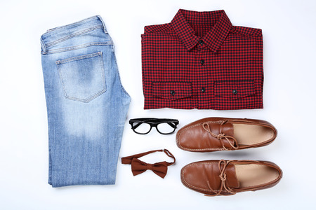 Fashionable mens clothes with accessories on white background