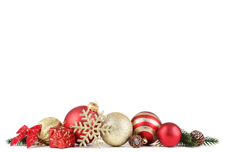 Colorful christmas baubles with snowflake isolated on white background