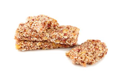Granola bars isolated on white background