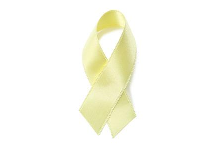 Golden ribbon on white background. Children cancer concept Stock Photo - 115582473