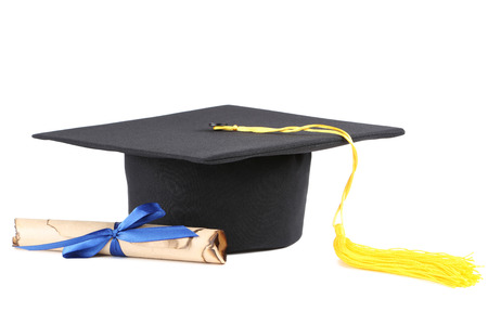 Graduation cap with diploma isolated on white background