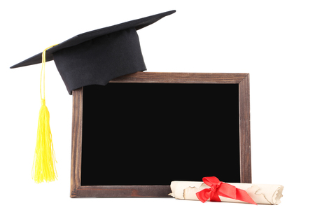 Graduation cap with diploma and blank frame isolated on white background