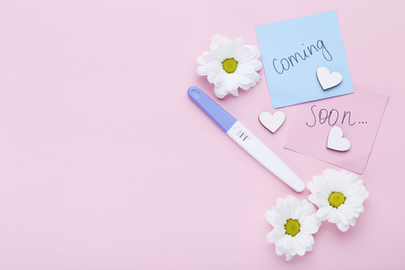 Pregnancy test with chrysanthemum flowers on pink background