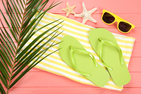 Pair of flip flops with starfishes, sunglasses and palm leaf on coral color background