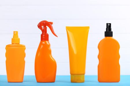 Sunscreen bottles on white background Stockfoto