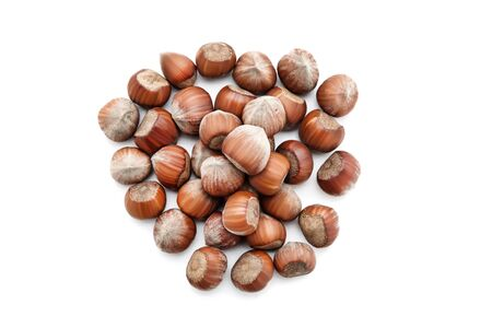 Hazelnuts isolated on white background 写真素材