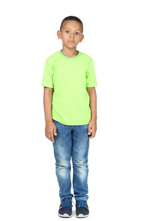 Cute american boy in fashion clothing on white background