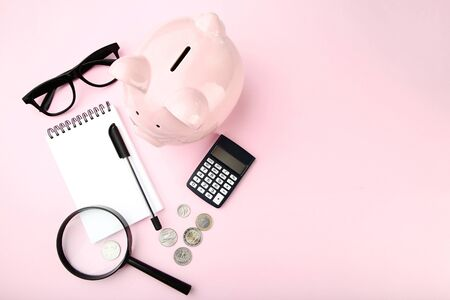 Pink piggy bank with notebook, coins and magnifying glass on pink background