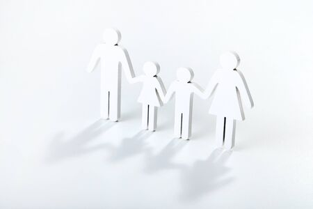 Family figures on grey background