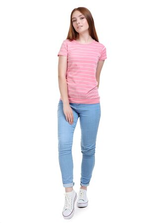 Young woman in fashion clothing on white background