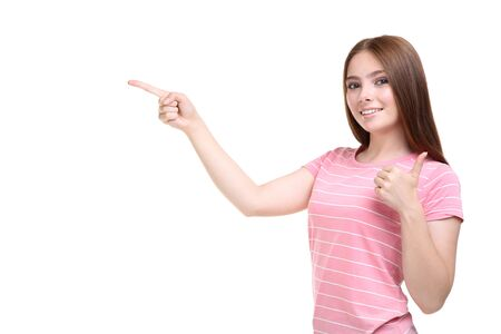 Young woman in pink t-shirt on white background