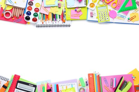 Different school supplies on white background