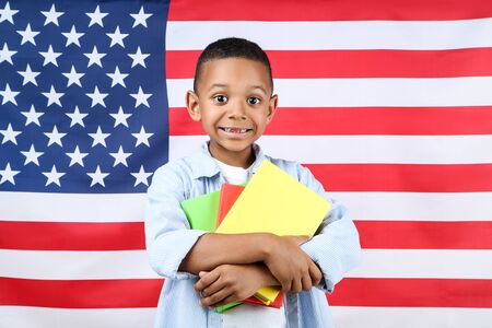 Cute boy with books on american flag background