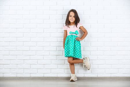 Beautiful little girl on white brick wall background