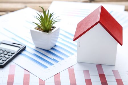 Wooden house model with financial papers and green plant Stok Fotoğraf