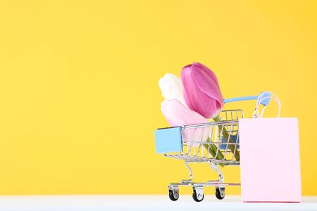 Small shopping cart with tulips and shopping bag on yellow background