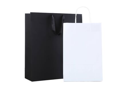 Black and white shopping bags isolated on white background Stock Photo