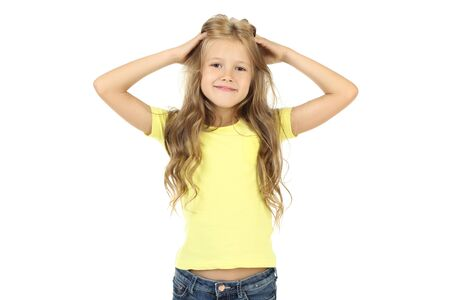 Beautiful little girl on white background