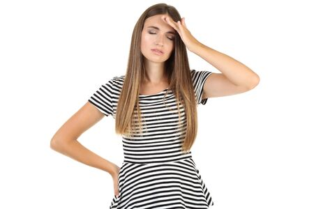 Young woman having a headache on white background Imagens