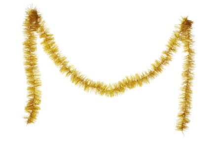 Christmas tinsel hanging on white background