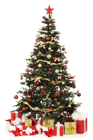 Christmas fir tree with ornaments and gift boxes isolated on white background