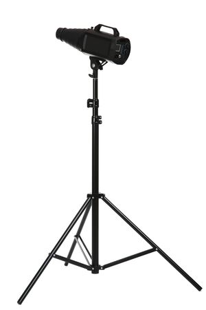Studio lighting with tripod isolated on white background