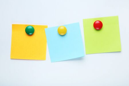 Paper sticky notes on white background