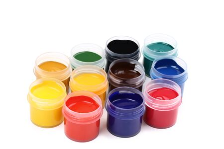 Colorful gouache paints isolated on white background Banco de Imagens