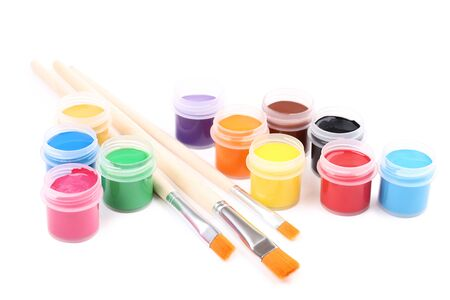 Colorful gouache paints and brushes isolated on white background Banco de Imagens - 138294143