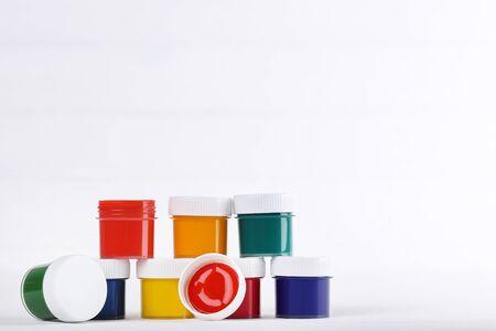 Colorful gouache paints on white background Banco de Imagens - 138294032