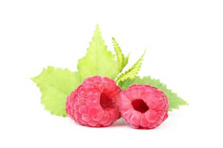 Sweet raspberries with green leafs isolated on white background Archivio Fotografico
