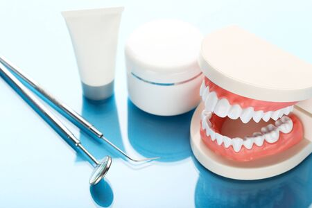 Teeth model with dental instruments and bottles on blue background Stock Photo