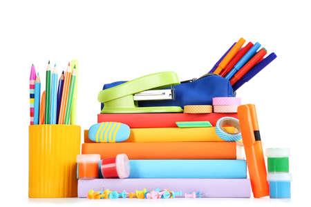 School supplies isolated on white background Zdjęcie Seryjne