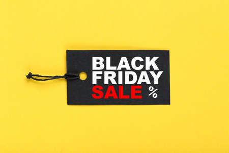 Sale tag with text Black Friday Sale on yellow background