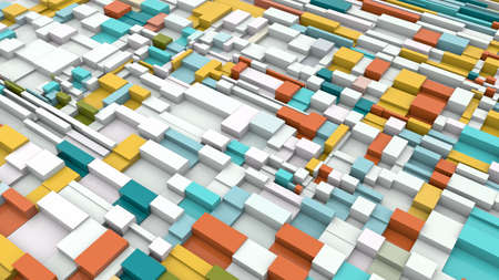 Colorful 3D Illustration Abstract Cubic Background generated by computer 3d rendering