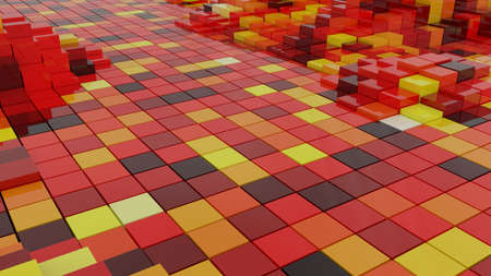 Abstract Background with Graphical Rendered 3D Red Cubes Reklamní fotografie