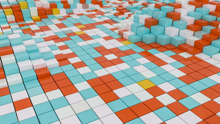 Abstract Background with Graphical 3D Red Cubes