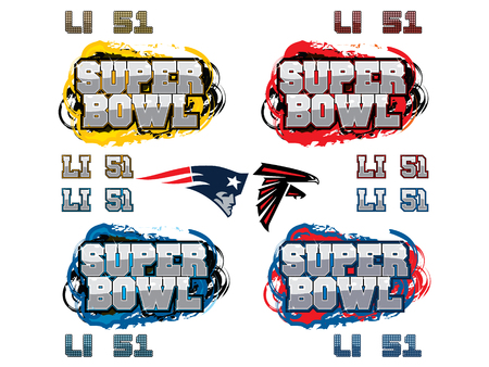 SuperBowl 51 custom headlines and team icons for party flyer, ad, and other use. For use with any superbowl, but with custom items for 51 Atlanta Falcons vs New England Patriots.