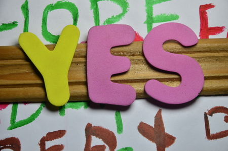 WORD YES Stock Photo